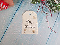 "Новогодняя бирка ""Merry Christmas"", 68х45 мм, 1 шт"
