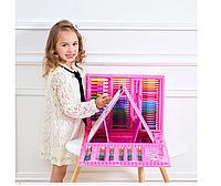 Набор для рисования 208 предметов для детей чемодан , розовый цвет