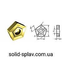 PNUM-10114-110408 ТТ10К8Б TiN Пластины пятигранная твердосплавная