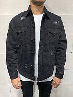 Джинсовка мужская чёрная на пуговицах оверсайз пиджак джинсовый мужской чёрный с потертостями широкий XL