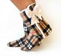 Дизайнерские домашние тапочки, обувь для дома, необычные тапочки Барберри с бантиком. Стильная обувь для дома.