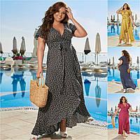 Р 50-60 Летнее натуральное длинное платье на запах Батал 21983, фото 1