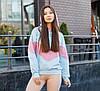 Худі жіноче блакитне оверсайз зі вставками Sunset (Сансет) від бренду ТУР розмір XC, S, M