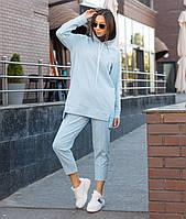 Костюм жіночий спортивний жіночі штани блакитного кольору Нефрит, жіноче блакитне худі Шива S, M, L весна/літо, фото 1