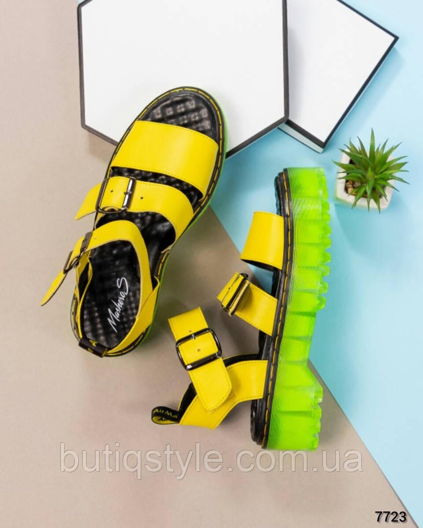 Женские желтые сандалии натуральная кожа