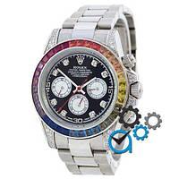 Механічні чоловічі годинники Rolex Cosmograph Daytona Rainbow Automatic Silver-Black ( AAA )