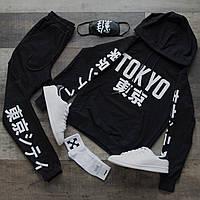 Спортивный костюм мужской черный сезон весна/лето (весенний) с принтом Япония (иероглифы), фото 1