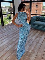 Платье в пол облегающее из сетки расшитой пайетками, верх без рукава 66mpl1430Е, фото 1