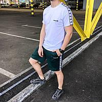 Летний комплект Адидас белая футболка мужская + зелёные шорты  S, M, L, XL, фото 1