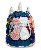 Светящийся рюкзак с котиками и пайетками для девочек, черный, детский рюкзачок, рожки единорог, фото 1