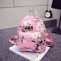 Маленький женский рюкзачок розовый с цветами. Яркий стильный рюкзак для девушки