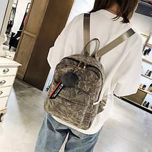 Женский рюкзак с меховым брелком,сумка-рюкзак женская, женский рюкзак городской 2 в 1 сумка рюкзачок