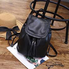 Женский рюкзачок мешочек,рюкзак женский кожзам черный,удобный практичный рюкзачок для девушки