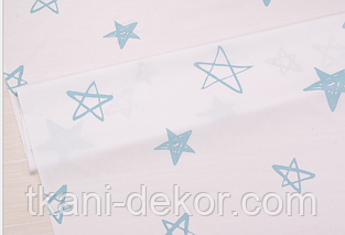 Сатин (хлопковая ткань) бирюзовые нарисованные звезды (85*160)