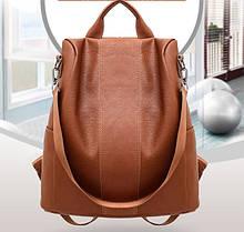 Модный женский рюкзак сумка. Молодежный женский рюкзак на каждый день городской рюкзачок для девушек кирпичный Коричневый