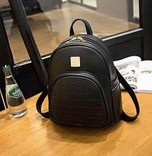 Модный женский рюкзак черный.  Женский мини рюкзак сумочка маленький рюкзачок эко кожа модный стильный