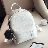 Стильный женский рюкзак с меховым брелком. Белый черный молодежный рюкзачок для девушек