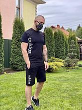 Мужской летний комплект шорты + футболка Adidas (копия) спортивный костюм для мужчин лето черный