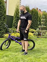 Шорты + футболка спортивный костюм Adidas реплика черный летний мужской костюм для занятий спортом