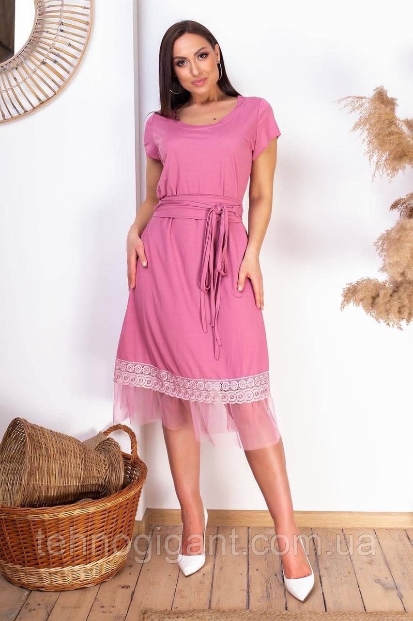 Нарядное летнее платье большого размера с поясом 50,52,54,56, платье на подкладке, Розовое