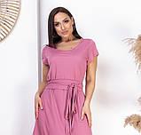 Нарядное летнее платье большого размера с поясом 50,52,54,56, платье на подкладке, Розовое, фото 2