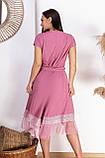 Нарядное летнее платье большого размера с поясом 50,52,54,56, платье на подкладке, Розовое, фото 3