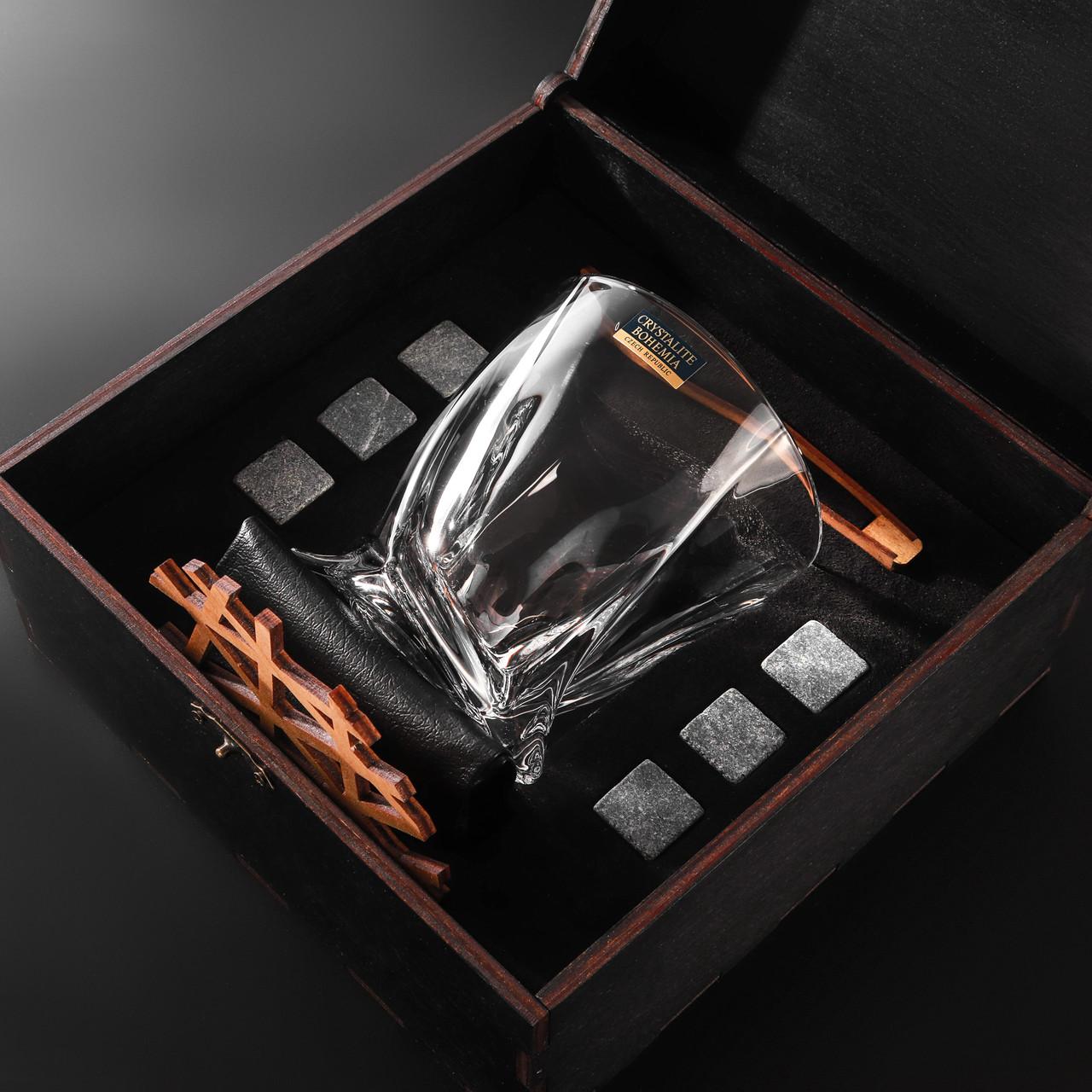 Камни для виски. Подарок мужу. Камни для виски подарочный темный деревянный набор с бокалом Темная коробка + Бокал Bohemia Quadro 340 мл