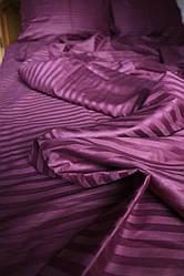 Двуспальный размер постельного белья страйп-сатин в сливовом цвете полоска