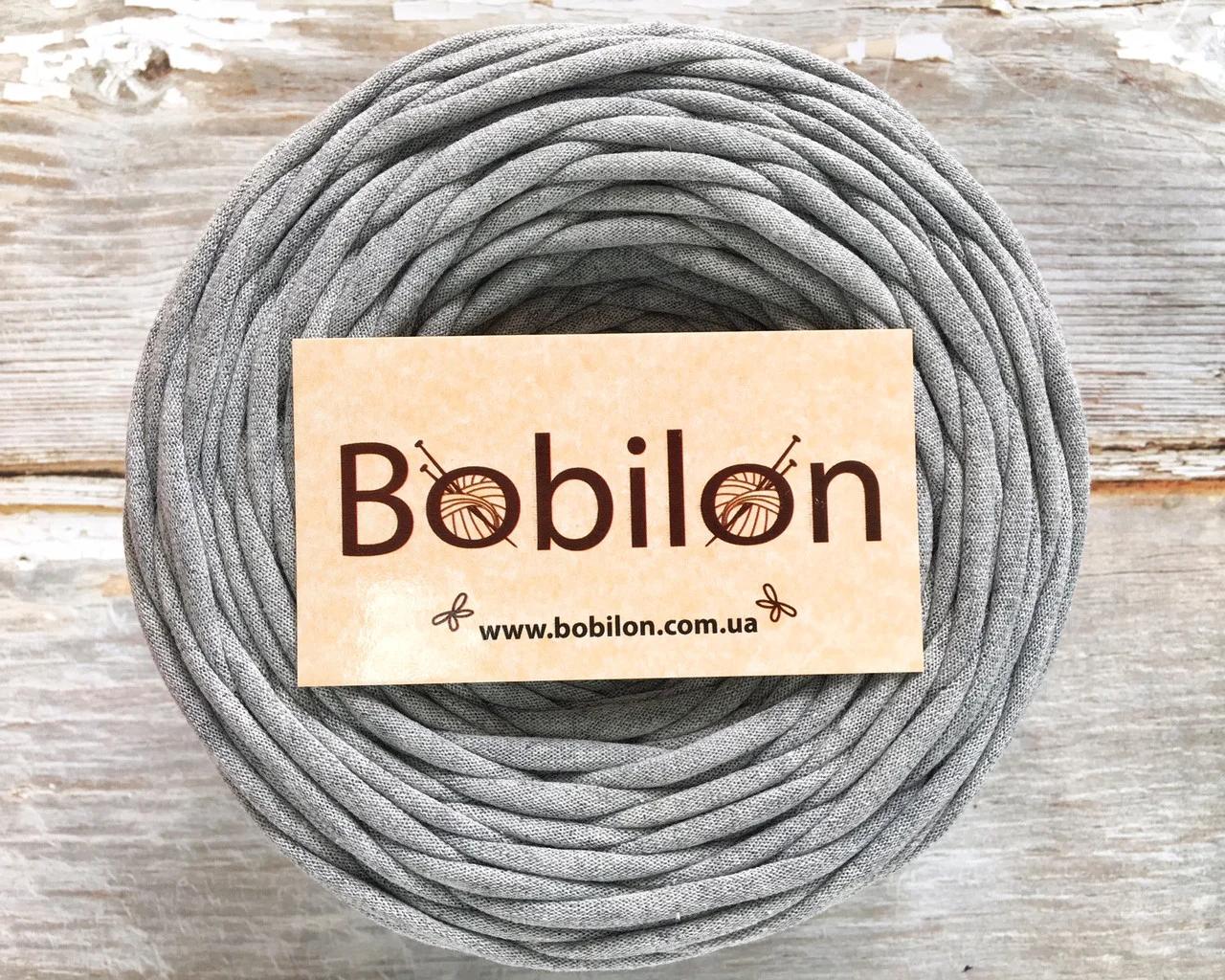 Трикотажная пряжа Bobilon Medium (7-9 мм) 50 м. Gray Melange 2 Серый меланж