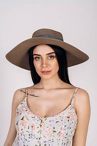 Шляпка широкополая Алиса оптом SHL-2003 темно-капучиновая