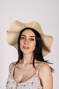 Шляпка широкополая Кассандра оптом SHL-2002 песочная