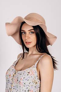 Шляпка широкополая Кассандра оптом SHL-2002 пудровая