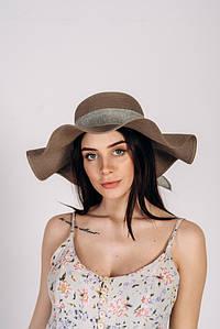 Шляпка широкополая Кассандра оптом SHL-2002 темно-капучиновый