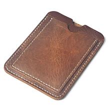 Кожаный картхолдер «Geeson» на 2 кармана 102×76 мм коричневый