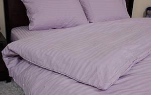 Двуспальный размер постельного белья страйп-сатин в лиловом цвете полоска