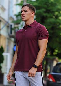 Бордовая мужская футболка поло / купить рубашку поло
