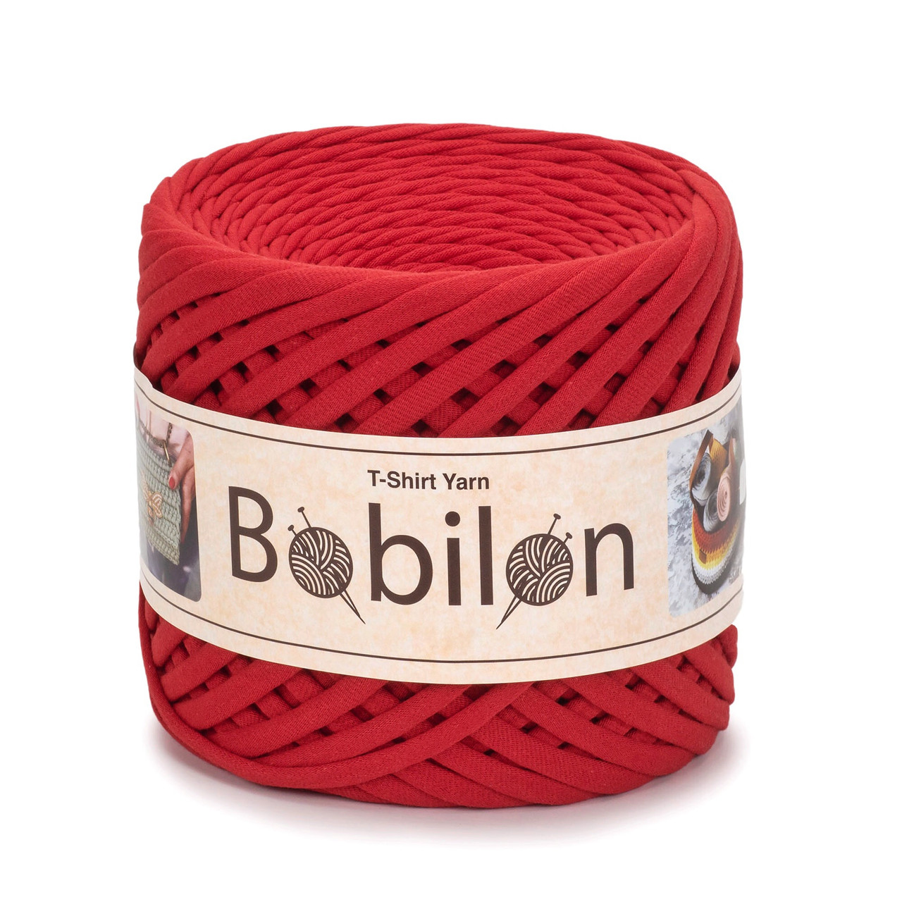 Трикотажная пряжа Bobilon Maxi (9-11 мм) Lady in Red Красный мак