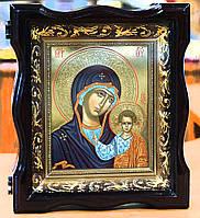 Икона Богородицы Казанская(писаная,сусальное золото,киот)
