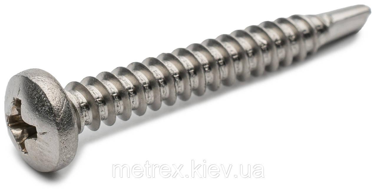 Саморез DIN 7504N 4.2х19 по металлу со сверлом и полукруглой головкой из нержавеющей стали А2