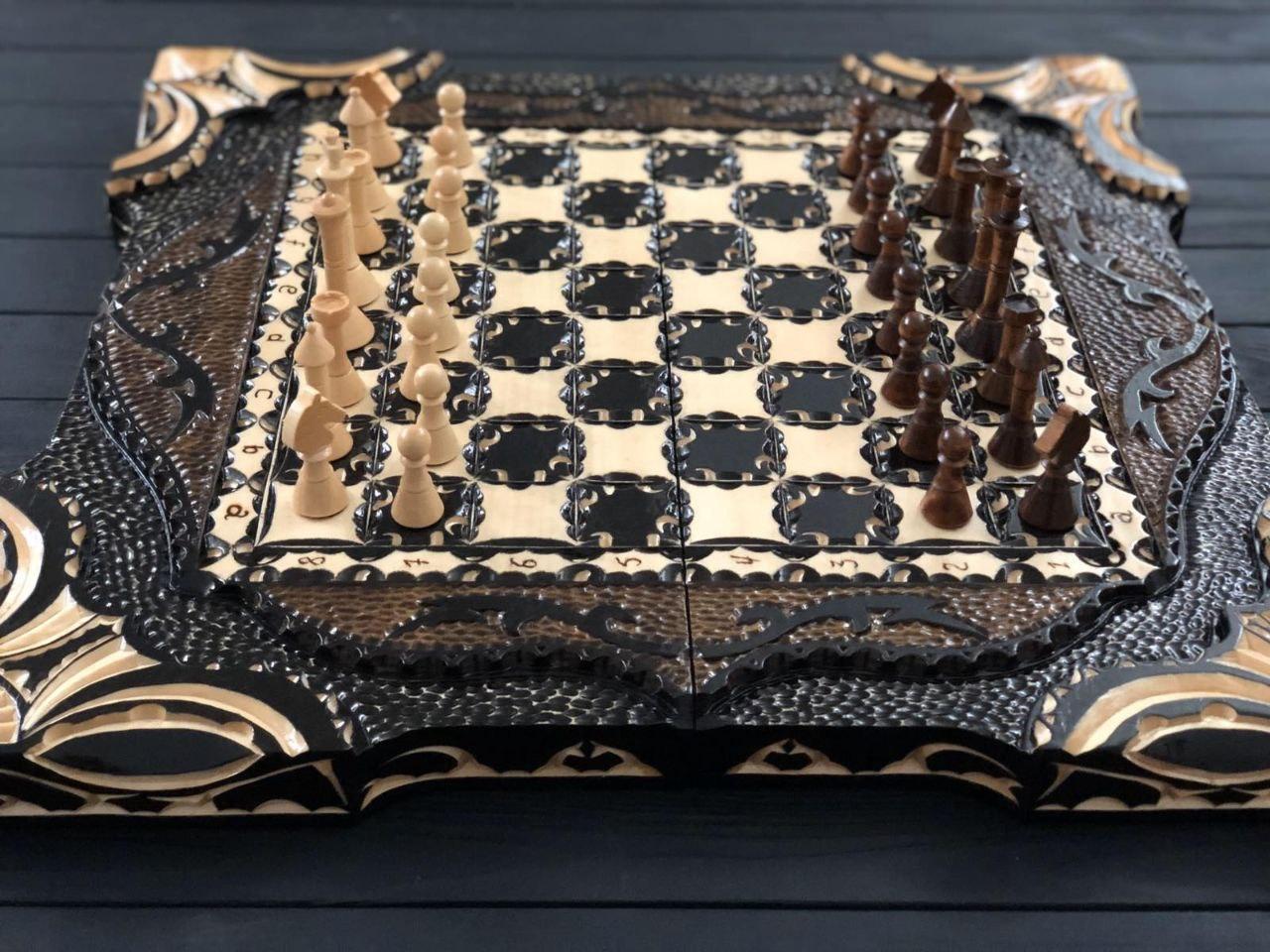 Деревянные шахматы, шашки и нарды 3в1 ручной работы