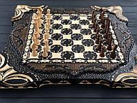 Деревянные шахматы, шашки и нарды 3в1 ручной работы, фото 1