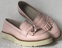 Стильные Лоферы обувь Loafer Santoni женские классические туфли лоуферы кожа пудра, фото 1
