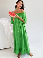 Летнее платье зеленое жатый лен