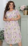 Нарядное летнее шифоновое платье больших размеров 52,54,56, Светлый лимон с цветочным принтом, фото 4