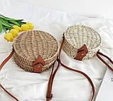 Женская круглая бамбуковая сумочка, фото 2