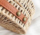 Женская круглая бамбуковая сумочка, фото 4