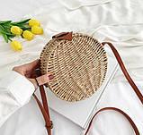 Женская круглая бамбуковая сумочка, фото 5