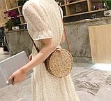 Женская круглая бамбуковая сумочка, фото 6