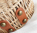 Женская круглая бамбуковая сумочка, фото 7