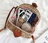 Женская круглая бамбуковая сумочка, фото 9